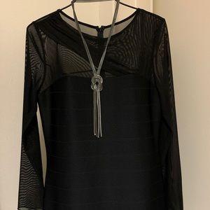 Black shear sleeve dress